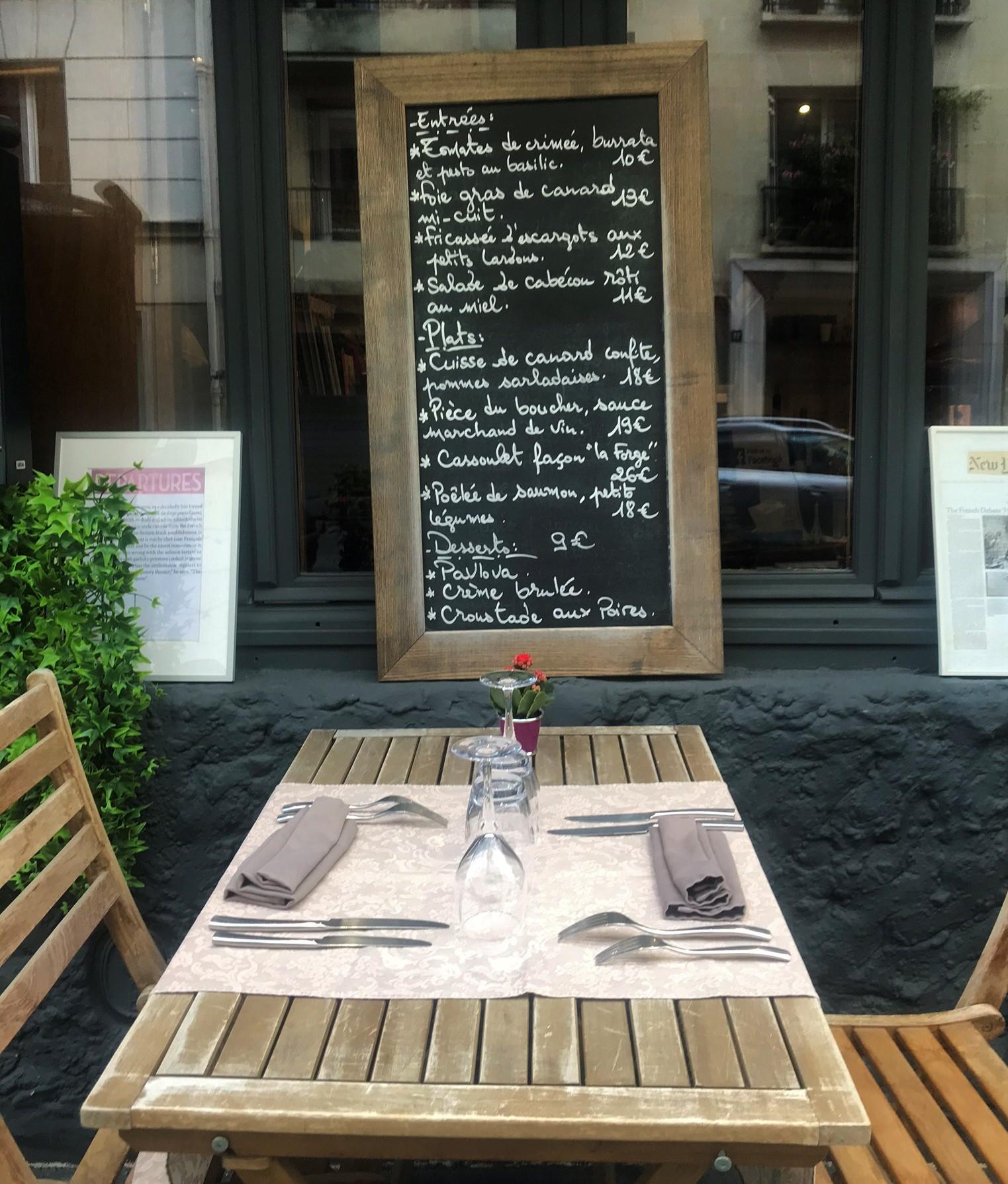 entrees plats ardoise restaurant La Forge